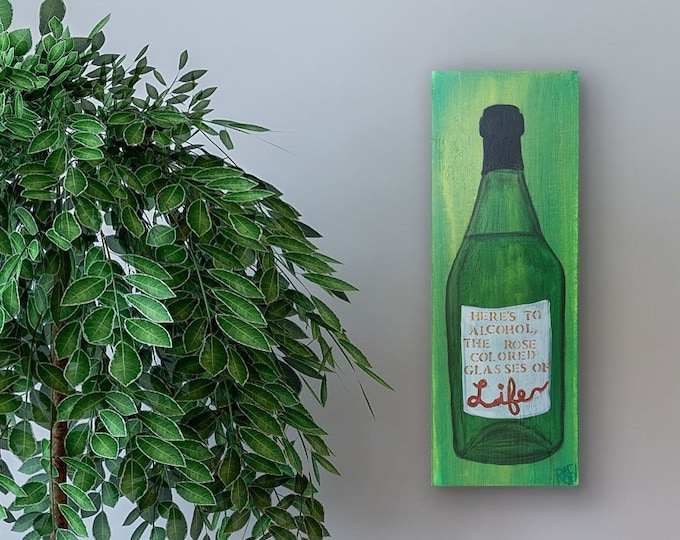 Life Wine Bottle Original Painting by Artist Rafi Perez Mixed Medium Textured on Canvas 8X24
