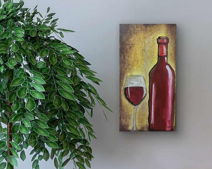 Red Wine Gold Original Painting by Artist Rafi Perez Mixed Medium Textured on Canvas 10X20
