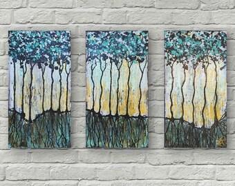 Wild Forest Magic Textured Original Painting By Artist Rafi Perez Mixed Medium on Canvas 30X20 Triptych