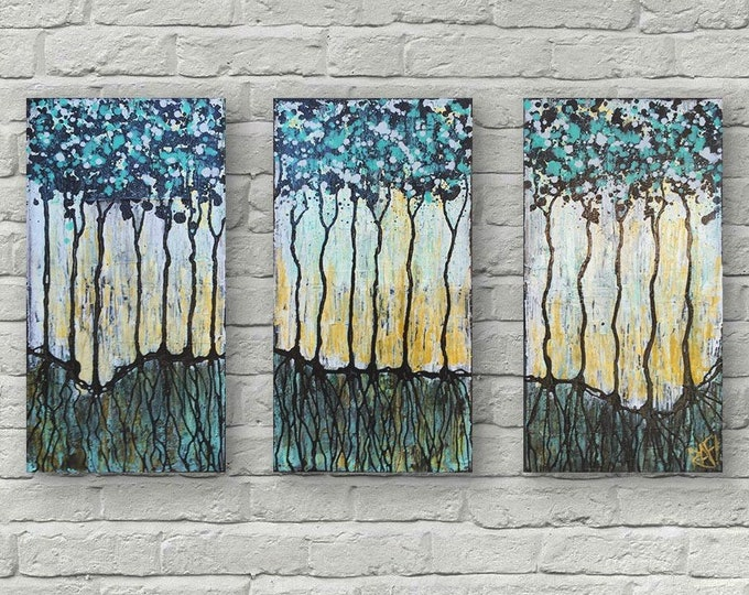 Wild Forest Magic Textured Original Painting By Artist Rafi Perez Mixed Medium on Canvas 30X20 Triptych