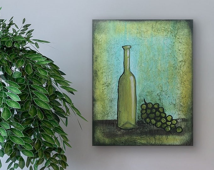 Wine And Green Grapes Original Painting by Artist Rafi Perez Mixed Medium Textured on Canvas 18X24