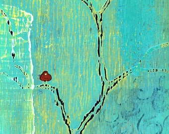 Out on A Limb Red Bird - Abstract Tree - Mixed Media On Reclaimed Wood  By Rafi