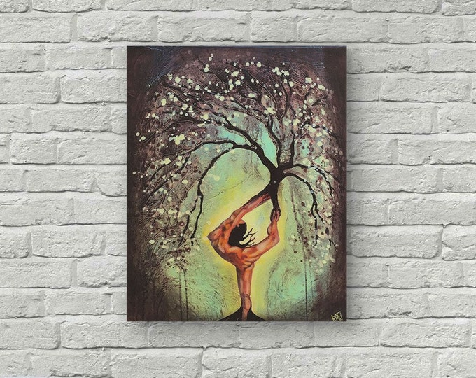 Original Painting Red womanTree Wall Art by Artist Rafi Perez Mixed Medium on Canvas 18X24
