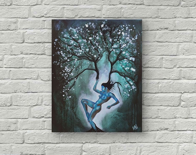 Original Painting Woman Tree Wall Art by artist Rafi Perez Mixed Medium on Canvas 18X24