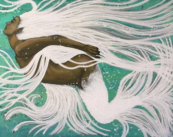 Mermaid Of Light Original Painting By Artist Rafi Perez Mixed Medium on Canvas 48X38