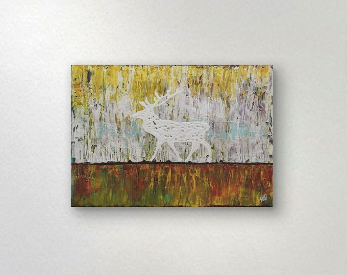 White Deer / Stag Textured original painting by artist Rafi Perez Mixed Medium on Canvas 16X20