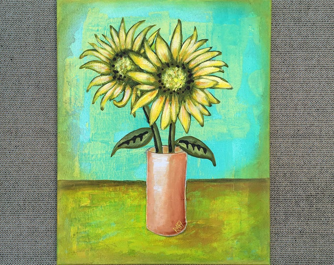 Sunflower Painting Textured Original Two Sunflowers Painting by artist Rafi Perez on Gallery Wrapped Canvas