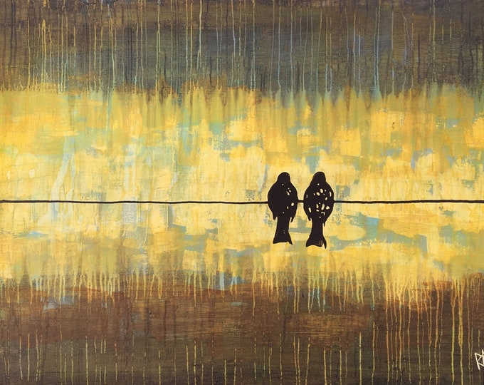 2 Birds On The Wire - Custom Birds On A Wire Made To Order Original Painting by Artist Rafi Perez Mixed Medium on Canvas 31X42