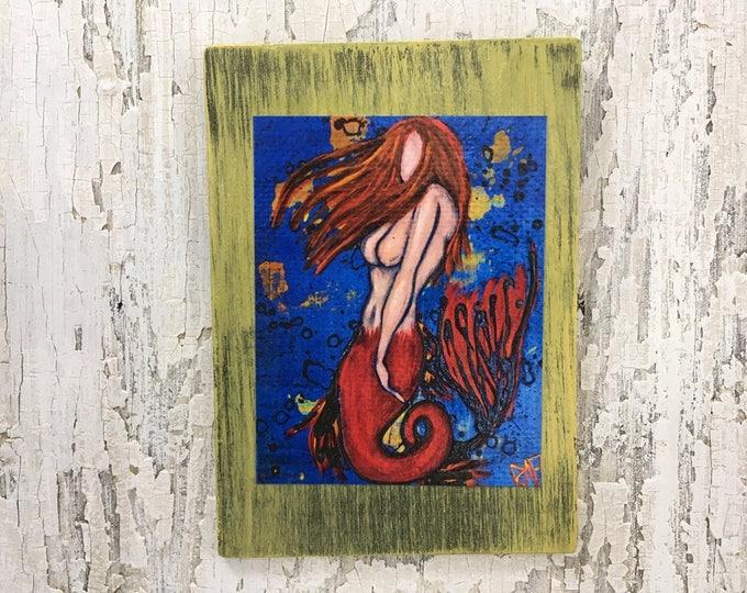 Red Mermaid Wall Art by artist Rafi Perez Original Artist Enhanced Print On Wood