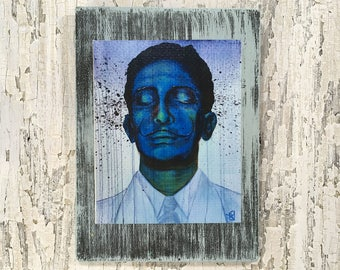 Salvador Dali Expressions Wall Art by artist Rafi Perez Original Artist Enhanced Print On Wood