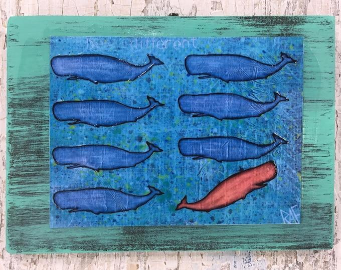 Be Different Little Whales Rustic Wall Art By Artist Rafi Perez Original Textured Artist Enhanced Print On Wood