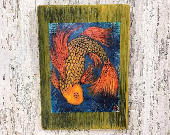 The Joy Of Koi Rustic Wall Art By Artist Rafi Perez Original Textured Artist Enhanced Print On Wood