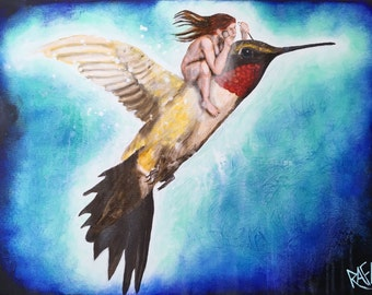 Flight Of The Hummingbird original painting by artist Rafi Perez Mixed Medium on Canvas 18X24