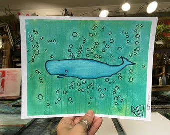 Little Blue Whale Wall Art by Artist Rafi Perez Original Artist Enhanced Print 8X10