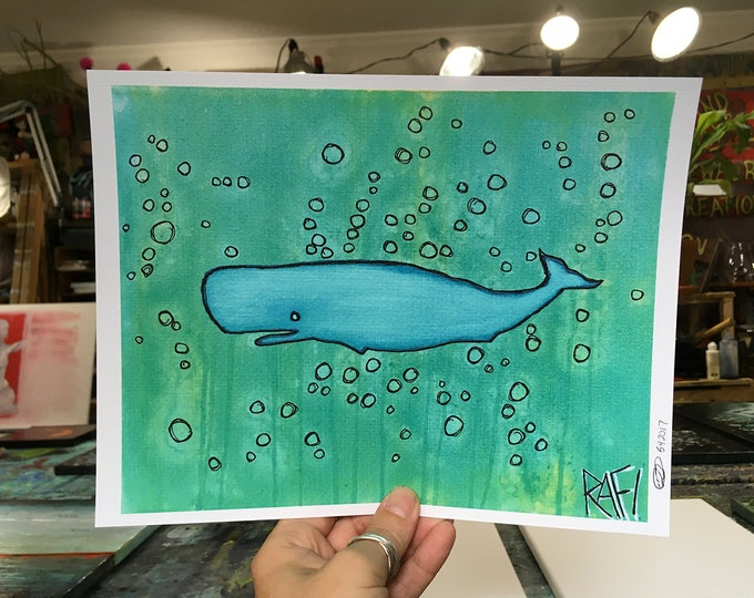 Little Blue Whale Wall Art by Artist Rafi Perez Original Artist Enhanced Print 8X10