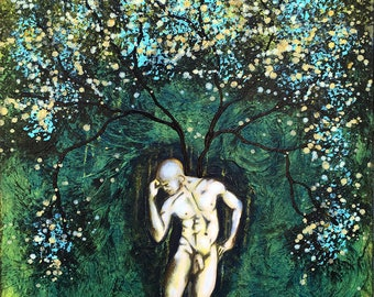 Nature Of Him Original Painting Man Tree Wall Art by artist Rafi Perez Mixed Medium on Canvas 24X30