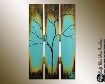 Large Abstract Tree on reclaimed wood  - Summer Tree Painting - Seasons of Change Series