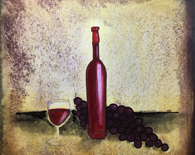 Red Wine And Grapes Original Painting by Artist Rafi Perez Mixed Medium Textured on Canvas 30X30
