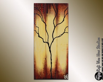Single Season - Autumn Tree Painting on wood 11X23 - Seasons of Change By Rafi