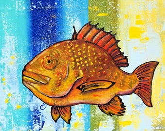 Orange Snapper Fish Wall Art by Artist Rafi Perez Mixed Medium on Canvas 30X34 - Colorful Fish - Contemporary Fish Art