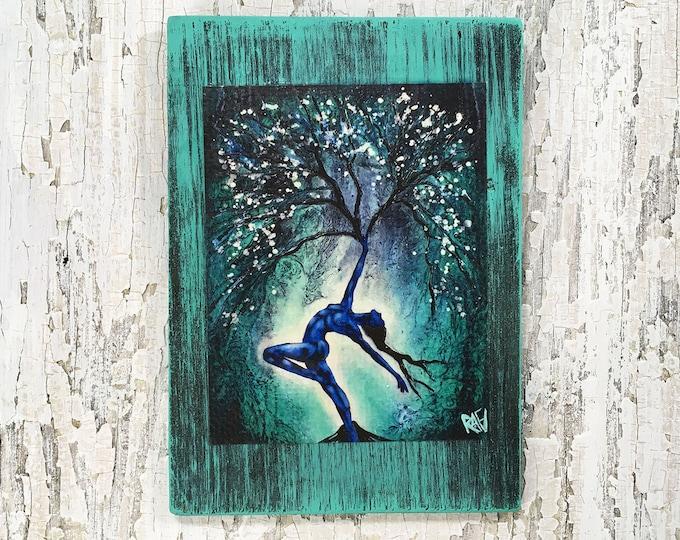 Nature Of Being Reaching Tree Wall Art by artist Rafi Perez Original Artist Enhanced Print On Wood