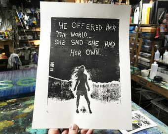 She Had Her Own World Limited Edition Original Print By Rafi Perez - Inked Etching - Block Print - Hand Crafted Print - Motivational Art