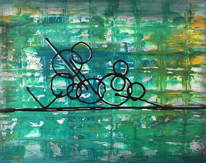 Abstract Positions 1 Original Painting By Artist Rafi Perez Mixed Medium on Canvas 18X24