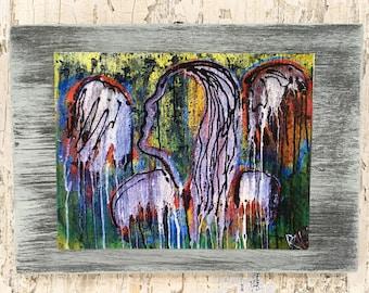 Graffiti Angel Wall Art by artist Rafi Perez Original Artist Enhanced Print On Wood