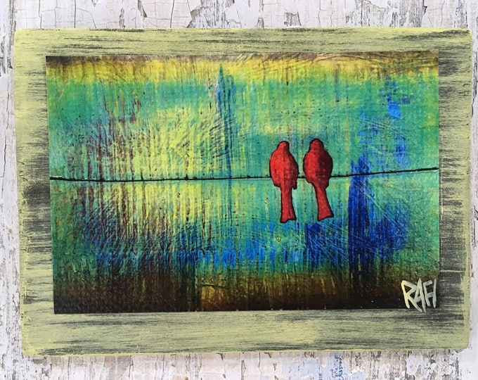 Two Red Birds Rustic Wall Art By Artist Rafi Perez Original Textured Artist Enhanced Print On Wood
