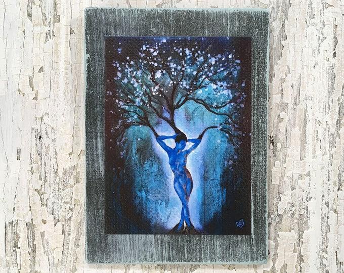 Blue Woman Tree Wall Art by artist Rafi Perez Original Artist Enhanced Print On Wood