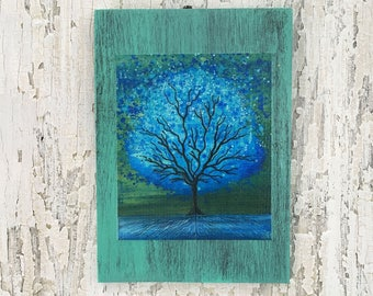 Blue Magic Tree Wall Art by artist Rafi Perez Original Artist Enhanced Print On Wood