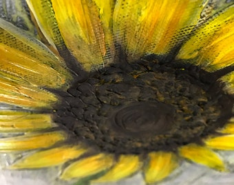 Sunflower Painting Textured Original Made To Order Painting by artist Rafi Perez on Gallery Wrapped Canvas 12X36