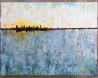 Beautiful Day Abstract original painting by artist Rafi Perez Mixed Medium on Canvas 18X24