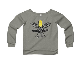 Lightning Bug Be The Glow Womens Sponge Fleece Wide Neck Sweatshirt Design By Rafi