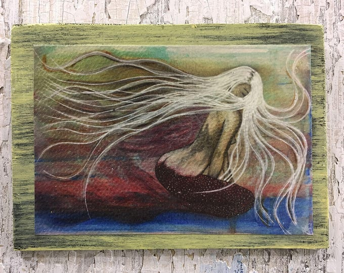 Gypsie Mermaid Rustic Wall Art By Artist Rafi Perez Original Textured Artist Enhanced Print On Wood