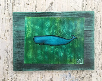 Happy As A Whale Wall Art by Artist Rafi Perez Fine Art Signed Print On Wood