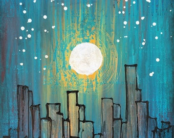 Silver Moonlight Original Painting By Artist Rafi Perez Mixed Medium on Canvas 24X30 - City Scape