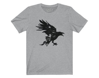 Nevermore Black Raven Unisex Jersey Short Sleeve Artistic Tee Design By Rafi