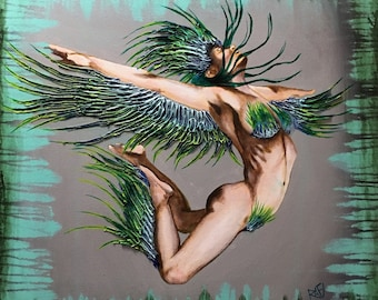 Blue Phoenix Reborn Original Painting Art By Artist Rafi Perez Mixed Medium on Canvas 24X30