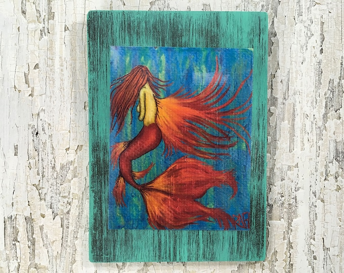 Angel Mermaid Rustic Wall Art By Artist Rafi Perez Original Textured Artist Enhanced Print On Wood