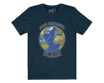 One Shared Place Unisex Jersey Short Sleeve Tee Planet Earth Design By Rafi Perez