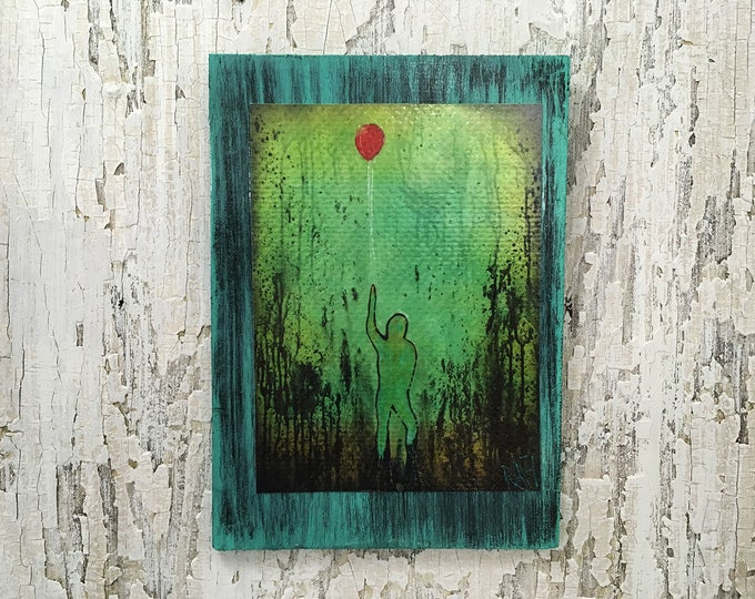 Balloon Man Wall Art Achieve The Impossible by Artist Rafi Perez Fine Art Signed On Wood