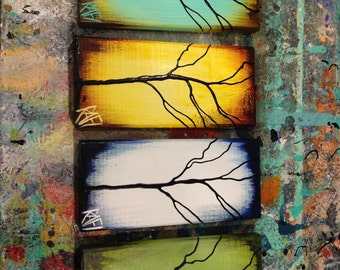 Four Seasons - 4 Piece -  Tree Paintings on Reclaimed Wood By Artist Rafi Perez