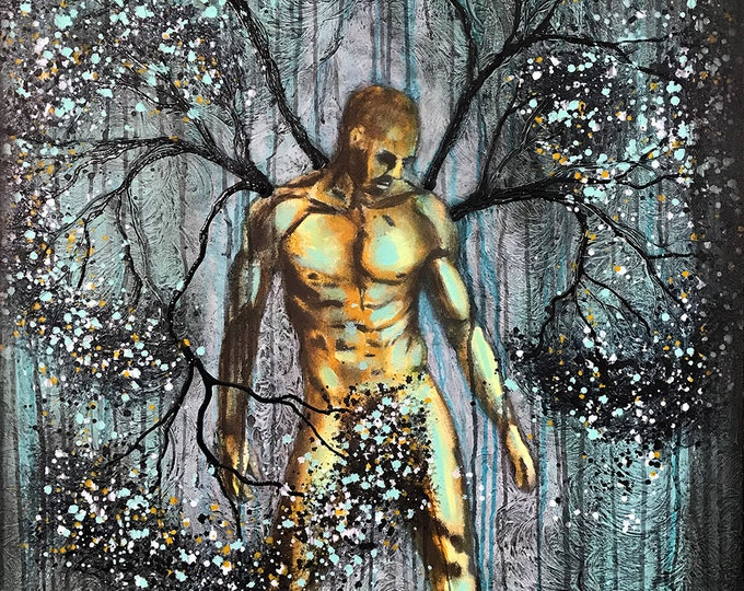 Nature Of Self Original Painting Man Tree Wall Art by artist Rafi Perez Mixed Medium on Canvas 36X58