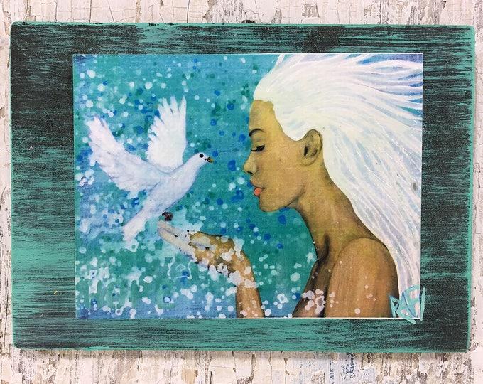 Hope's Dove Wall Art by artist Rafi Perez Original Artist Enhanced Print On Wood