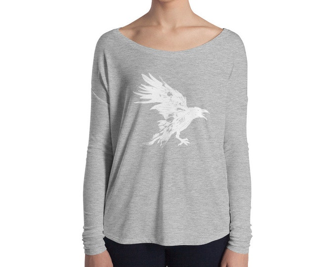 Nevermore White Raven Ladies' Long Sleeve Tee Design By Rafi Perez