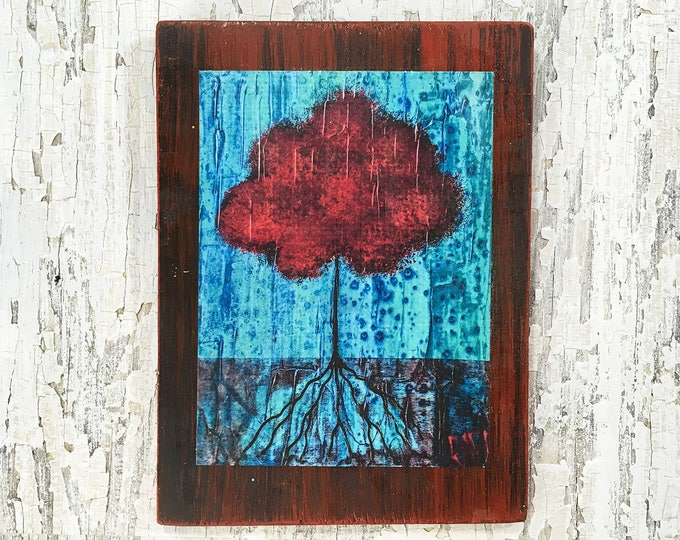 Magic Tree Rustic Wall Art By Artist Rafi Perez Original Textured Artist Enhanced Print On Wood