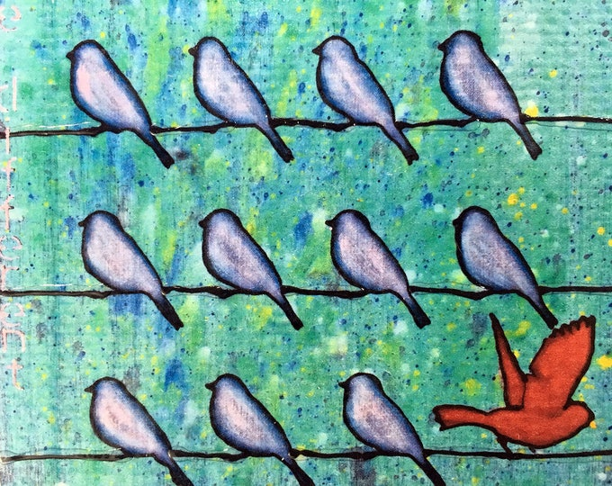 Be Different Little Birds Rustic Wall Art by Artist Rafi Perez Original Textured Artist Enhanced Print On Wood