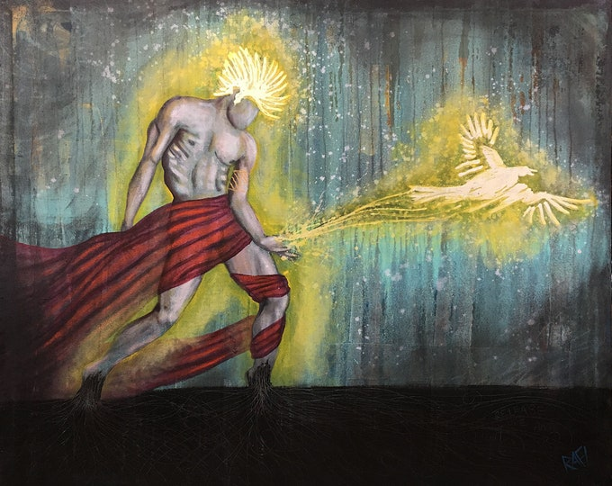 Releasing The Light Painting By Artist Rafi Perez Mixed Medium on Canvas 49X40
