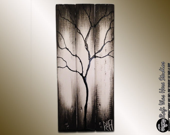 Black and White Tree Art on Reclaimed Wood Values of The Season By Rafi Perez